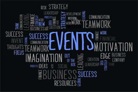 changes in equity: events word cloud concept on black background Stock Photo