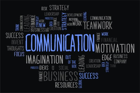 changes in equity: communication word cloud concept on black background Stock Photo