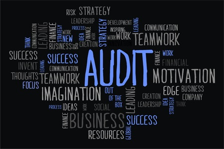changes in equity: audit word cloud concept on black background