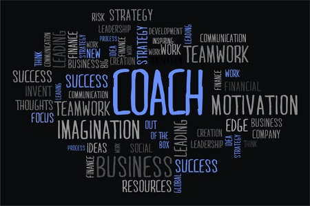 changes in equity: coach word cloud concept on black background