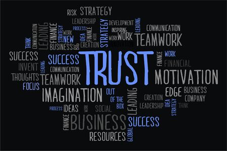 changes in equity: trust word cloud concept in black background
