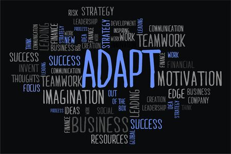 adapt: adapt word cloud concept in black background