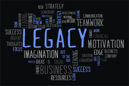 legacy: legacy word cloud concept in black background Stock Photo