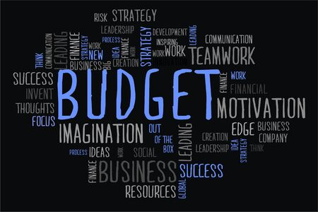 changes in equity: budget word cloud concept in black background