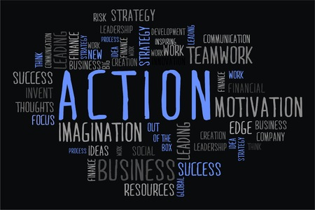 changes in equity: action word cloud concept in black background