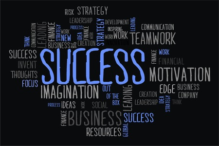changes in equity: success word cloud concept in black background