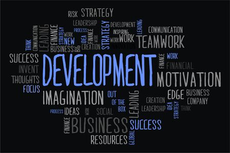 changes in equity: development word cloud concept in black background