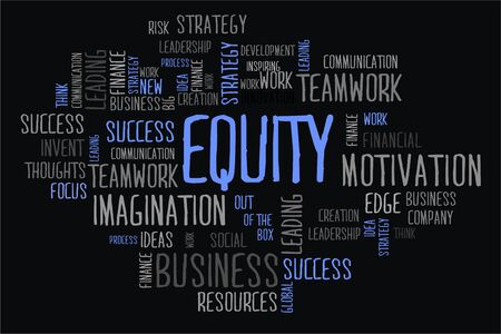 equity: equity word cloud concept in black background Stock Photo