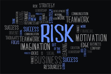 changes in equity: risk  word cloud concept in black background Stock Photo