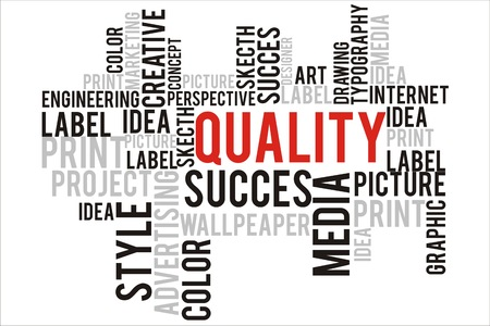 changes in equity: quality word cloud concept Stock Photo