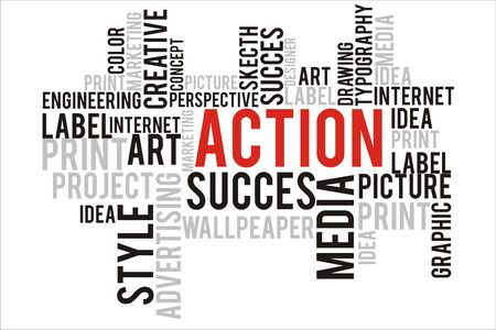changes in equity: action word cloud concept Stock Photo