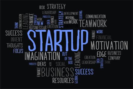 changes in equity: start up word cloud concept in black background