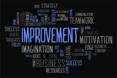 changes in equity: improvement word cloud concept in black background Stock Photo