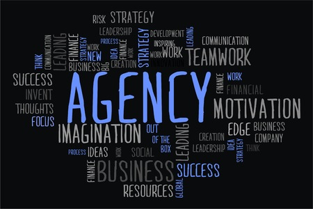 changes in equity: Agency word cloud concept in black background