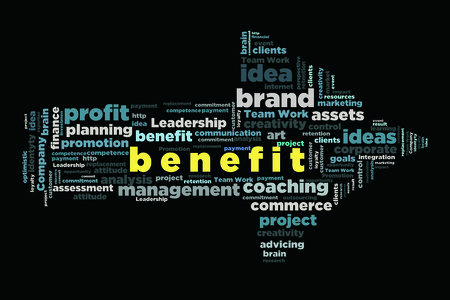 changes in equity: benefit word cloud concept in arrow shape