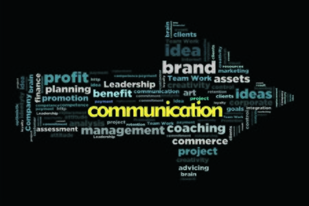 changes in equity: communication word cloud concept in arrow shape Stock Photo