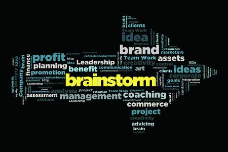 brainstorm: brainstorm word cloud concept in arrow shape