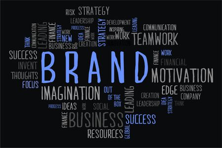 changes in equity: brand word cloud concept in black background