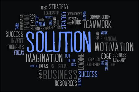 changes in equity: solution word cloud concept in black background Stock Photo