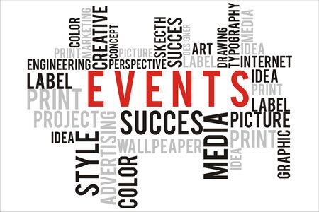 changes in equity: events word in wordcloud concept Stock Photo