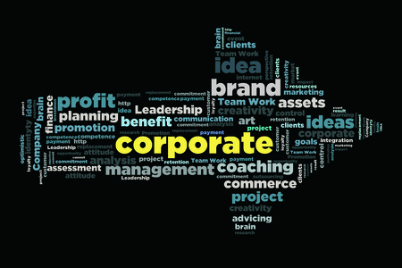 changes in equity: corporate word in arrow shape wordcloud concept