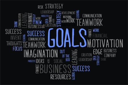 changes in equity: goals word in wordcloud concept on black background