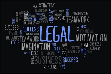 changes in equity: legal word in wordcloud concept on black background