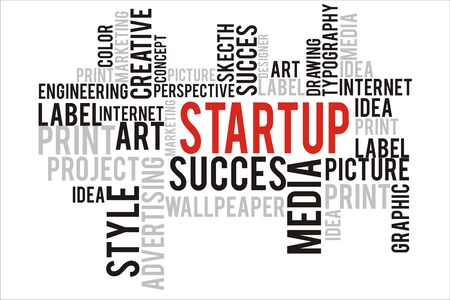 changes in equity: startup word in wordcloud concept Stock Photo