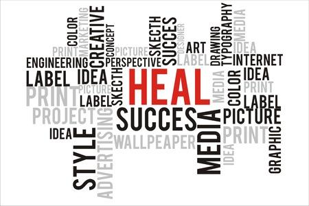 changes in equity: heal word in wordcloud concept