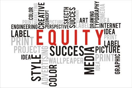 equidad: concepto de equidad en la palabra wordcloud Foto de archivo