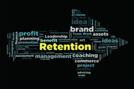 retention: retention word concept in word collage with arrow shape Stock Photo