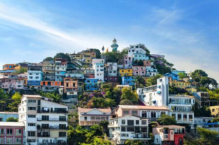 Colorful houses on Santa Ana hill in Guayaquil, Ecuador 免版税图像