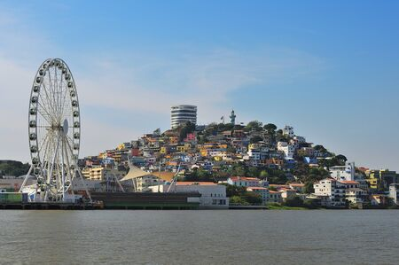 Colorful Santa Ana hill in Guayaquil from Guayas River.