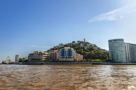 View of the Santa Ana Malecon from the Guayas River in Guayaquil. Stock Photo