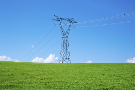 powerline: energy and high voltage powerline Stock Photo
