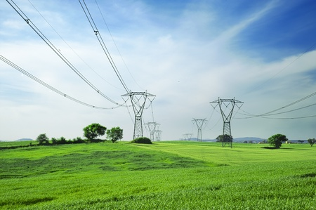 Two overhead lines towers across a landscape with cornfields on spring