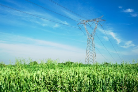 electricity grid: One overhead line tower across a landscape with cornfields on spring Stock Photo