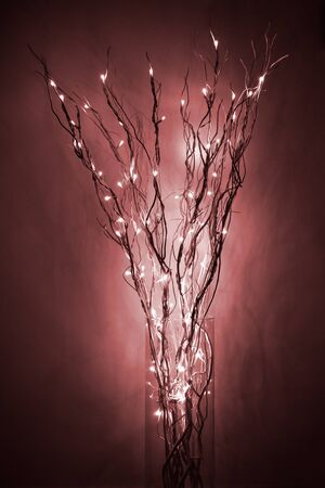 interrior: lamp made of braches with led light into a glass jar near a wall, red
