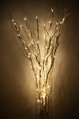 interrior: lamp made of braches with led light into a glass jar near a wall