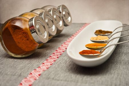 ceramica: Spices in spoon on the tray