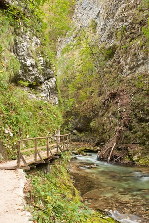 rages: Walking in the gorge of Vintgar in Slovenia