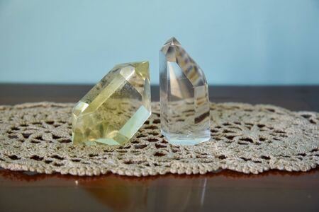 Citrine and clear quartz used in healing crystals to balance 3rd chakra, Solar plexus