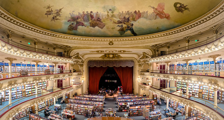 researching: Buenos Aires, Argentina - March 2016. The famous bookshop El Ateneo Grand Splendid. Its situated at 1860 Santa Fe Avenue. In 2008 it was placed as the second most beautiful bookshop in the world Editorial