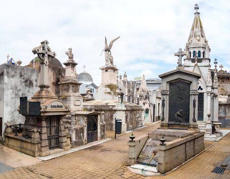 Buenos Aires, Argentina - March 2016. La Recoleta Cemetery (Spanish: Cementerio de la Recoleta) is a cemetery located in the Recoleta neighbourhood of Buenos Aires, Argentina. It contains the graves of notable people Editorial