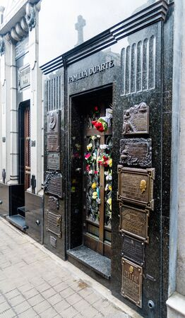 Buenos Aires, Argentina - March 2016. The tomb of Maria Eva Duarte de Peron, better known as Evita Peron at La Recoleta Cemetery (Spanish: Cementerio de la Recoleta)