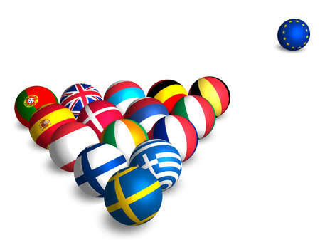 European flags on the balls Stock Photo