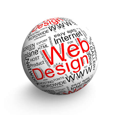 Webdesign oriented words on 3d ball Stock Photo