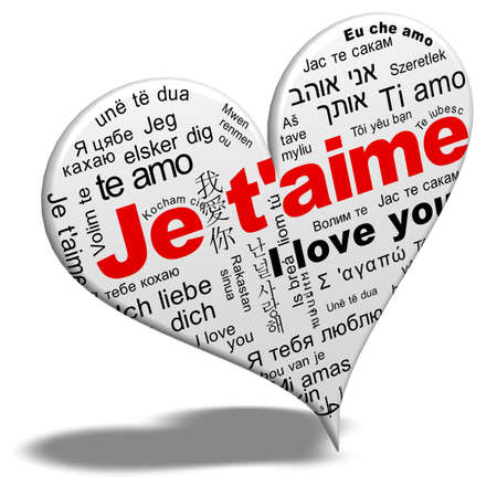 love words: I love you - Je t aime Stock Photo