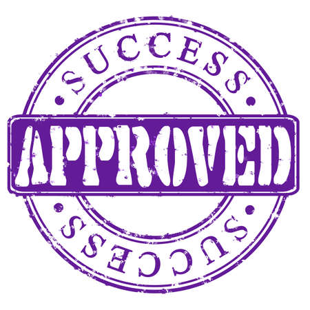 accredit: Stamp Approved success  violet