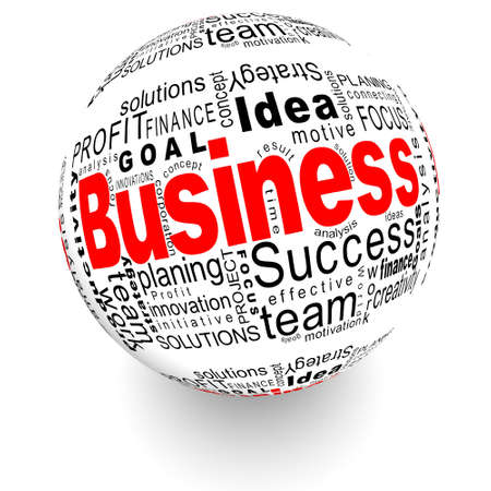 tcp ip: Business oriented words on the ball Stock Photo